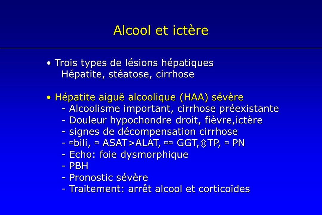 Alcool et ictère Trois types de lésions hépatiques Trois types de lésions hépatiques Hépatite, stéatose, cirrhose Hépatite aiguë alcoolique (HAA) sévè