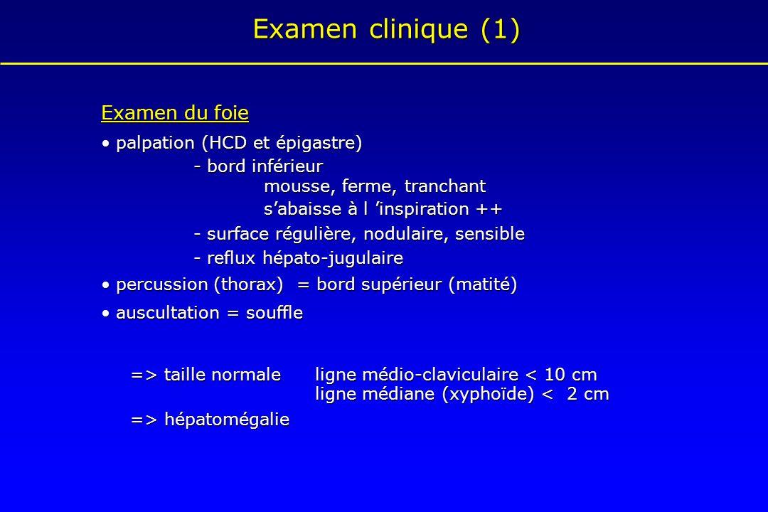 Examen clinique (1) Examen du foie palpation (HCD et épigastre) palpation (HCD et épigastre) - bord inférieur mousse, ferme, tranchant mousse, ferme,