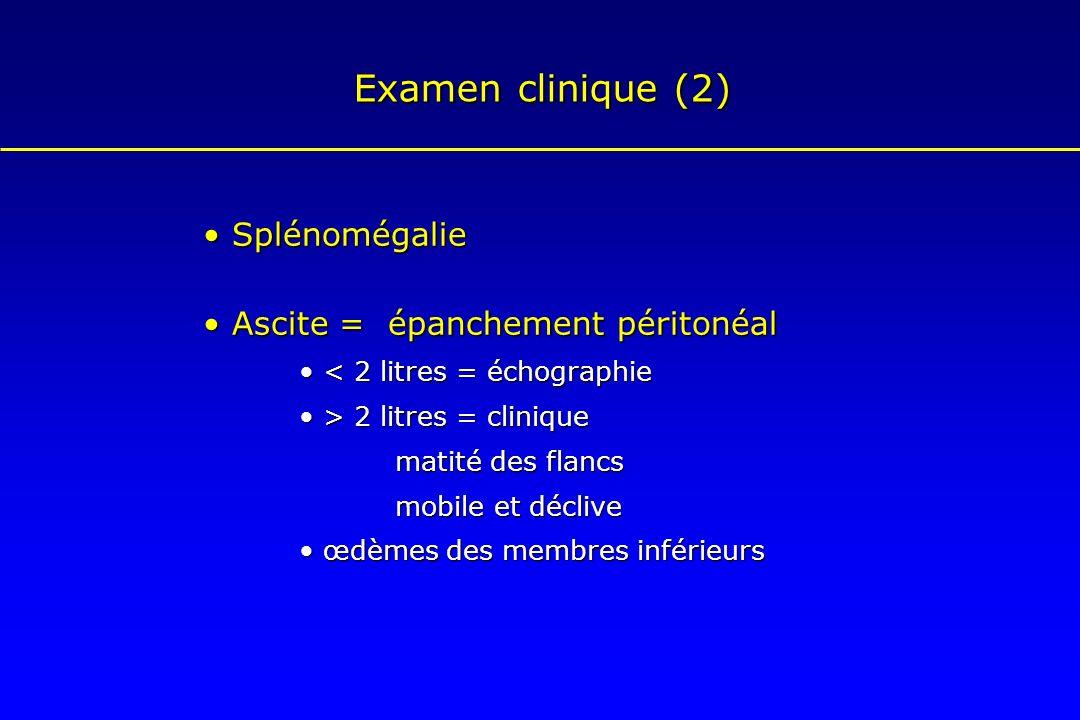 Examen clinique (2) Splénomégalie Splénomégalie Ascite = épanchement péritonéal Ascite = épanchement péritonéal < 2 litres = échographie < 2 litres =
