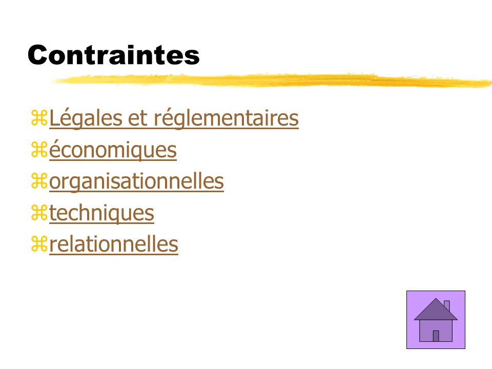 Contraintes zLégales et réglementairesLégales et réglementaires zéconomiqueséconomiques zorganisationnellesorganisationnelles ztechniquestechniques zrelationnellesrelationnelles