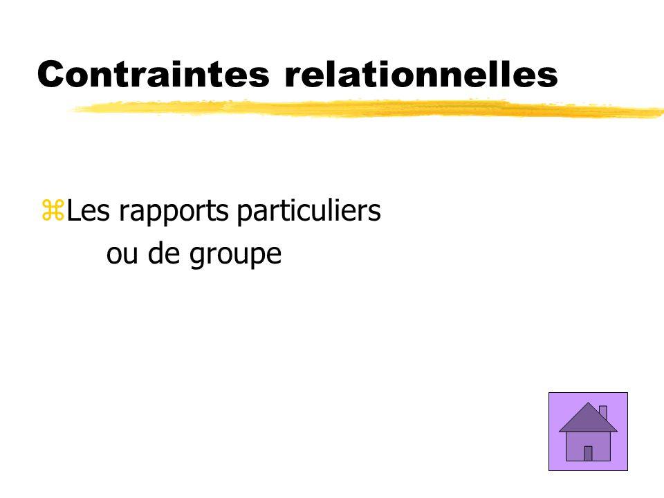 Contraintes relationnelles zLes rapports particuliers ou de groupe