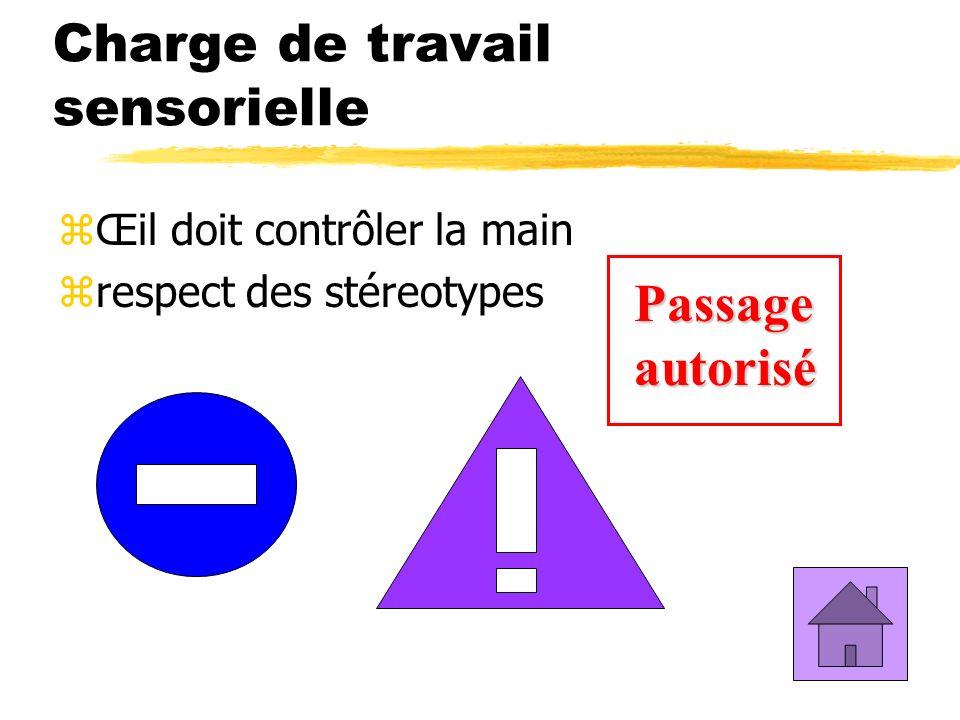 Charge de travail sensorielle zŒil doit contrôler la main zrespect des stéreotypes Passage autorisé