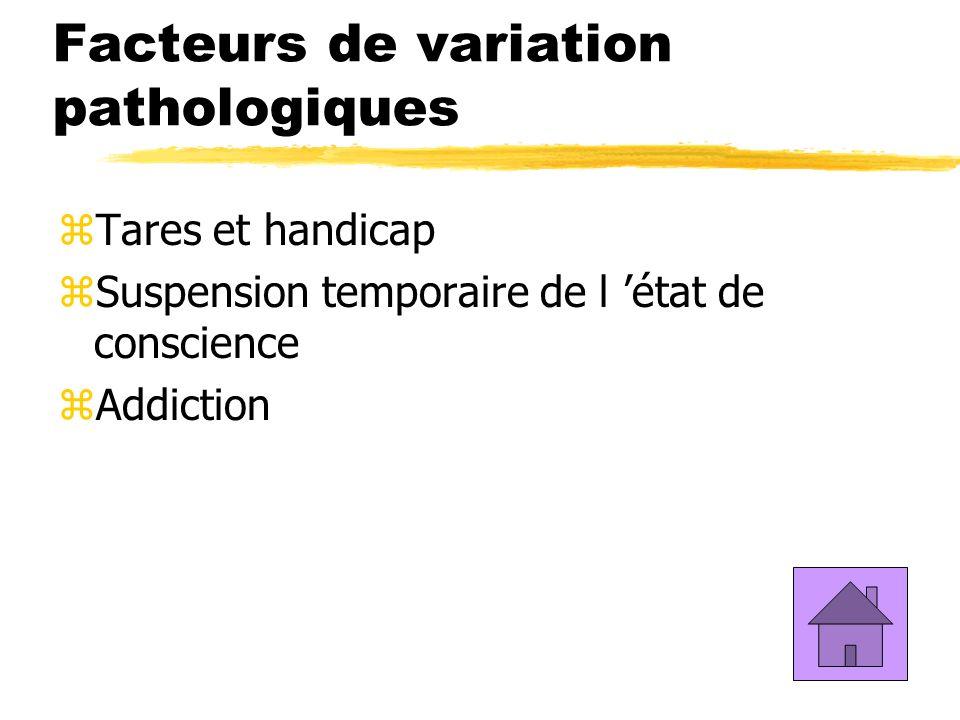 Facteurs de variation pathologiques zTares et handicap zSuspension temporaire de l état de conscience zAddiction