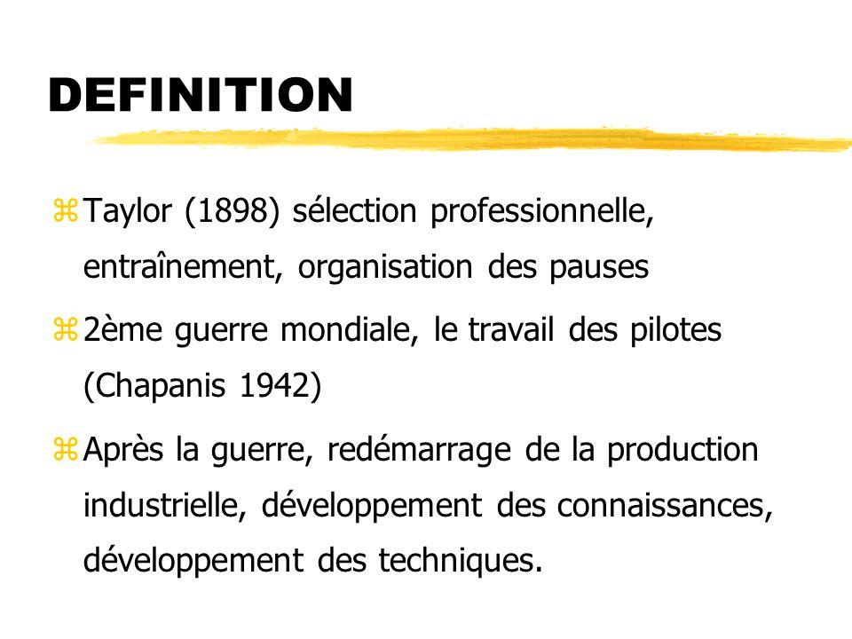 DEFINITION zTaylor (1898) sélection professionnelle, entraînement, organisation des pauses z2ème guerre mondiale, le travail des pilotes (Chapanis 1942) zAprès la guerre, redémarrage de la production industrielle, développement des connaissances, développement des techniques.