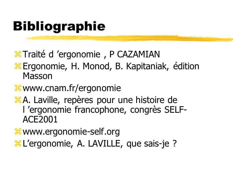 Bibliographie zTraité d ergonomie, P CAZAMIAN zErgonomie, H. Monod, B. Kapitaniak, édition Masson zwww.cnam.fr/ergonomie zA. Laville, repères pour une