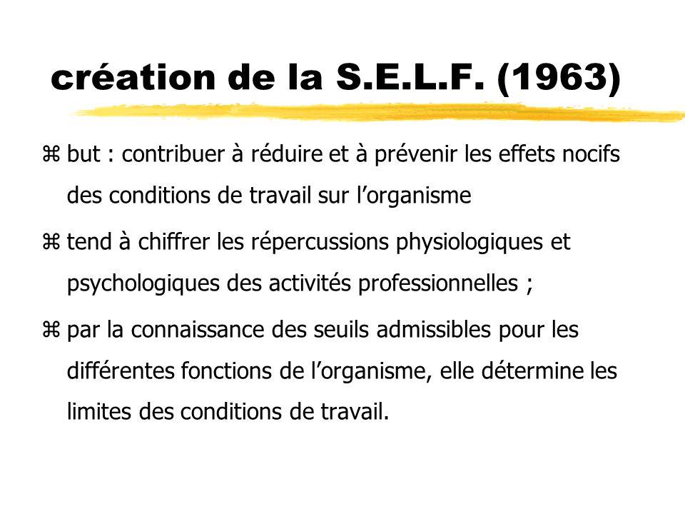 création de la S.E.L.F. (1963) zbut : contribuer à réduire et à prévenir les effets nocifs des conditions de travail sur lorganisme ztend à chiffrer l