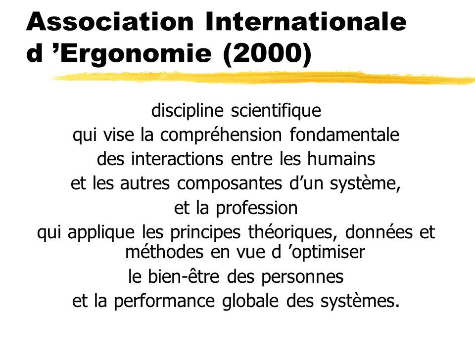 Association Internationale d Ergonomie (2000) discipline scientifique qui vise la compréhension fondamentale des interactions entre les humains et les