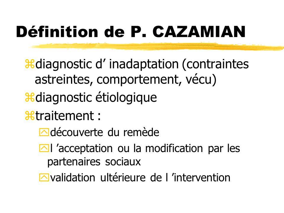 Définition de P. CAZAMIAN zdiagnostic d inadaptation (contraintes astreintes, comportement, vécu) zdiagnostic étiologique ztraitement : ydécouverte du
