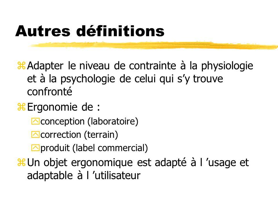 Autres définitions zAdapter le niveau de contrainte à la physiologie et à la psychologie de celui qui sy trouve confronté zErgonomie de : yconception