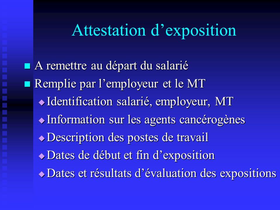 Attestation dexposition A remettre au départ du salarié A remettre au départ du salarié Remplie par lemployeur et le MT Remplie par lemployeur et le M