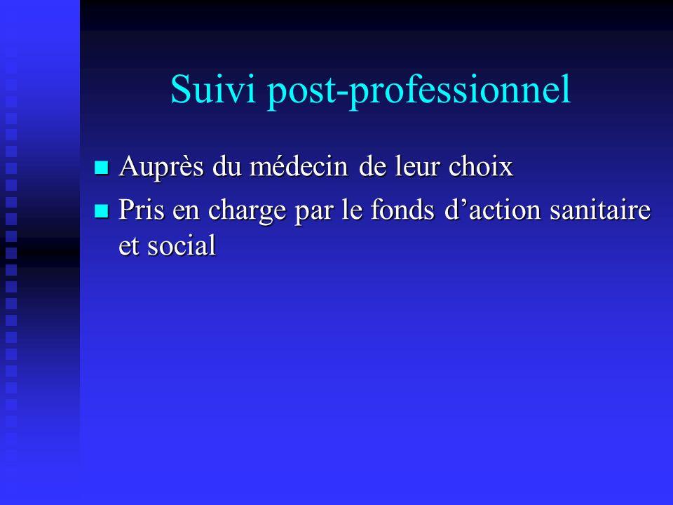 Suivi post-professionnel Auprès du médecin de leur choix Auprès du médecin de leur choix Pris en charge par le fonds daction sanitaire et social Pris