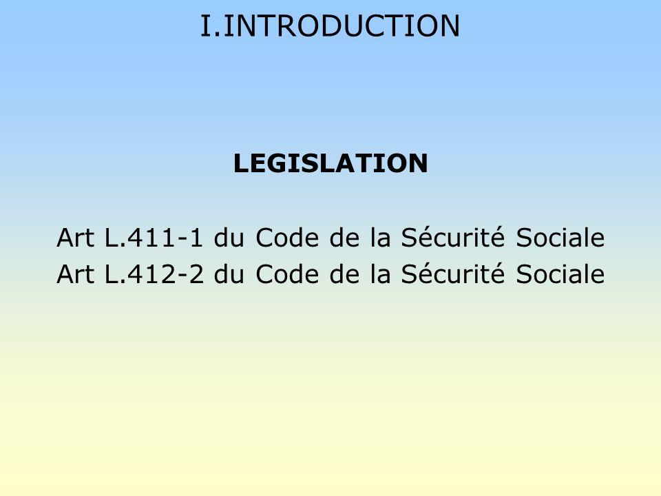 I.INTRODUCTION LEGISLATION Art L.411-1 du Code de la Sécurité Sociale Art L.412-2 du Code de la Sécurité Sociale