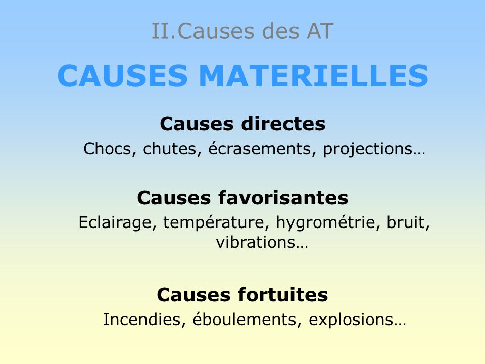 CAUSES MATERIELLES Causes directes Chocs, chutes, écrasements, projections… Causes favorisantes Eclairage, température, hygrométrie, bruit, vibrations… Causes fortuites Incendies, éboulements, explosions…