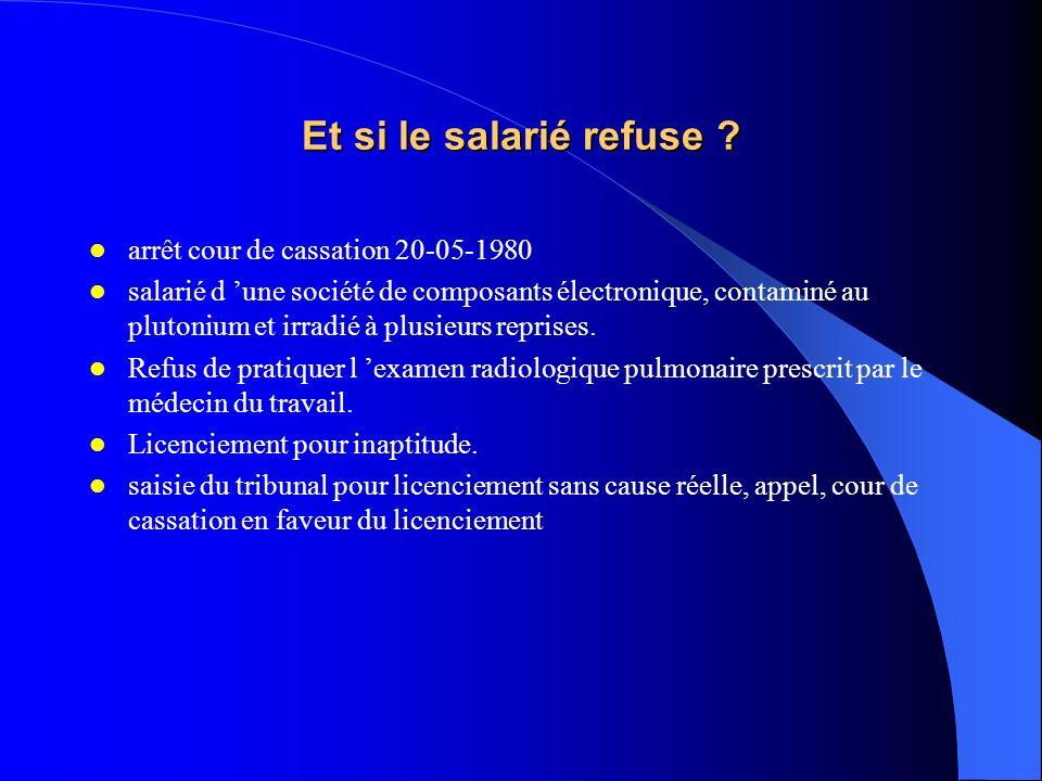 Et si le salarié refuse ? arrêt cour de cassation 20-05-1980 salarié d une société de composants électronique, contaminé au plutonium et irradié à plu