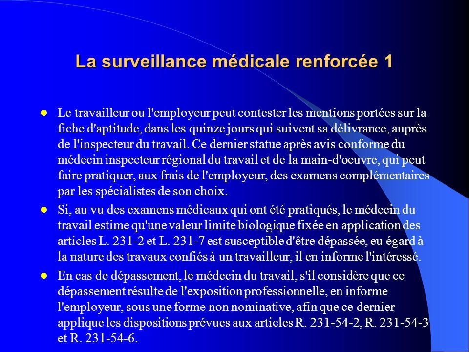 La surveillance médicale renforcée 2 Le travailleur ou l employeur peut contester les mentions portées sur la fiche d aptitude, dans les quinze jours qui suivent sa délivrance, auprès de l inspecteur du travail.
