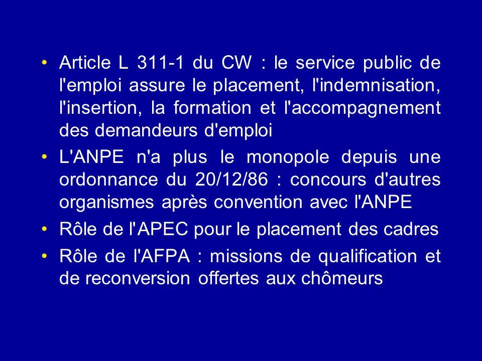 Article L 311-1 du CW : le service public de l'emploi assure le placement, l'indemnisation, l'insertion, la formation et l'accompagnement des demandeu