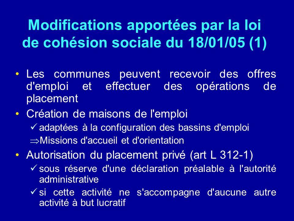 Modifications apportées par la loi de cohésion sociale du 18/01/05 (1) Les communes peuvent recevoir des offres d'emploi et effectuer des opérations d