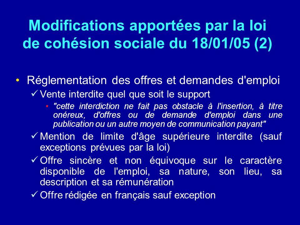 Modifications apportées par la loi de cohésion sociale du 18/01/05 (2) Réglementation des offres et demandes d'emploi Vente interdite quel que soit le