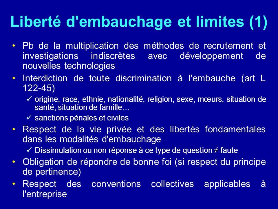 Liberté d'embauchage et limites (1) Pb de la multiplication des méthodes de recrutement et investigations indiscrètes avec développement de nouvelles