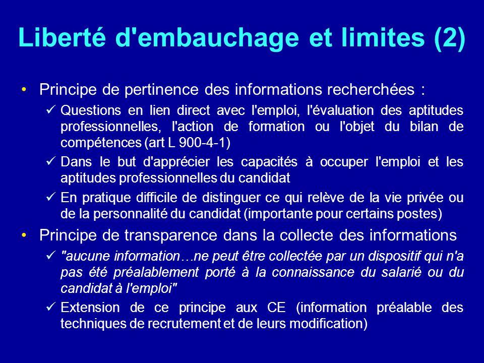 Liberté d'embauchage et limites (2) Principe de pertinence des informations recherchées : Questions en lien direct avec l'emploi, l'évaluation des apt