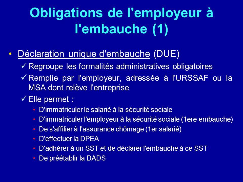 Obligations de l'employeur à l'embauche (1) Déclaration unique d'embauche (DUE) Regroupe les formalités administratives obligatoires Remplie par l'emp