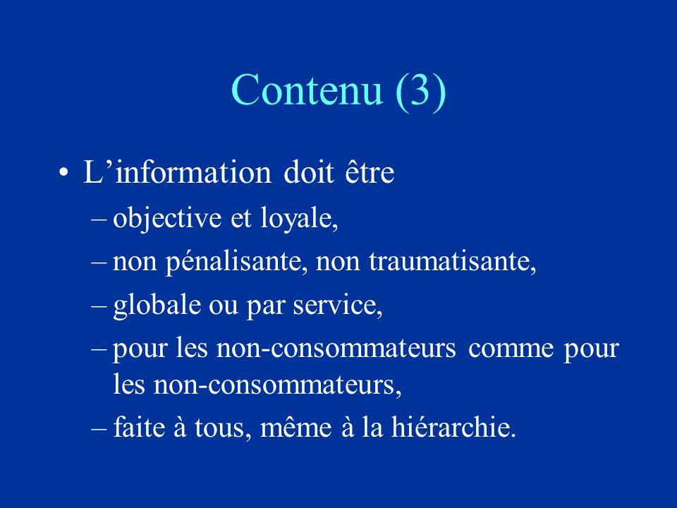 Contenu (3) Linformation doit être –objective et loyale, –non pénalisante, non traumatisante, –globale ou par service, –pour les non-consommateurs comme pour les non-consommateurs, –faite à tous, même à la hiérarchie.