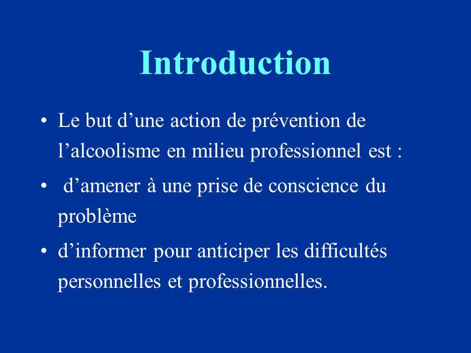 Introduction Le but dune action de prévention de lalcoolisme en milieu professionnel est : damener à une prise de conscience du problème dinformer pour anticiper les difficultés personnelles et professionnelles.