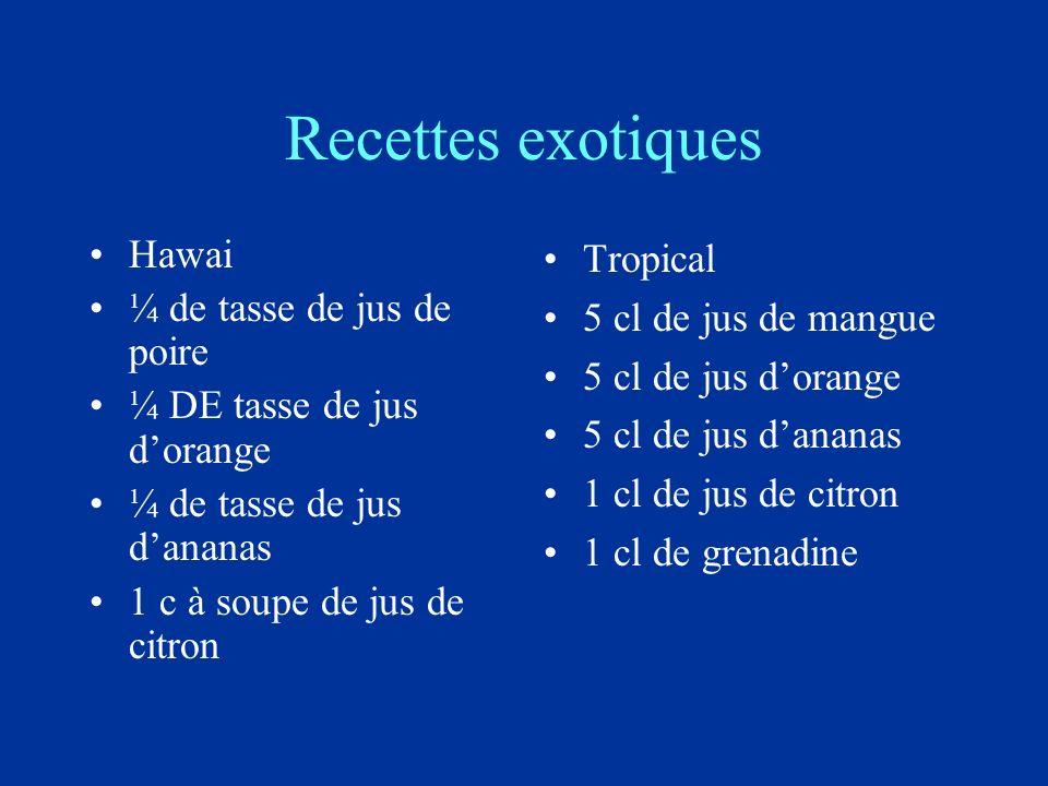 Recettes exotiques Hawai ¼ de tasse de jus de poire ¼ DE tasse de jus dorange ¼ de tasse de jus dananas 1 c à soupe de jus de citron Tropical 5 cl de jus de mangue 5 cl de jus dorange 5 cl de jus dananas 1 cl de jus de citron 1 cl de grenadine