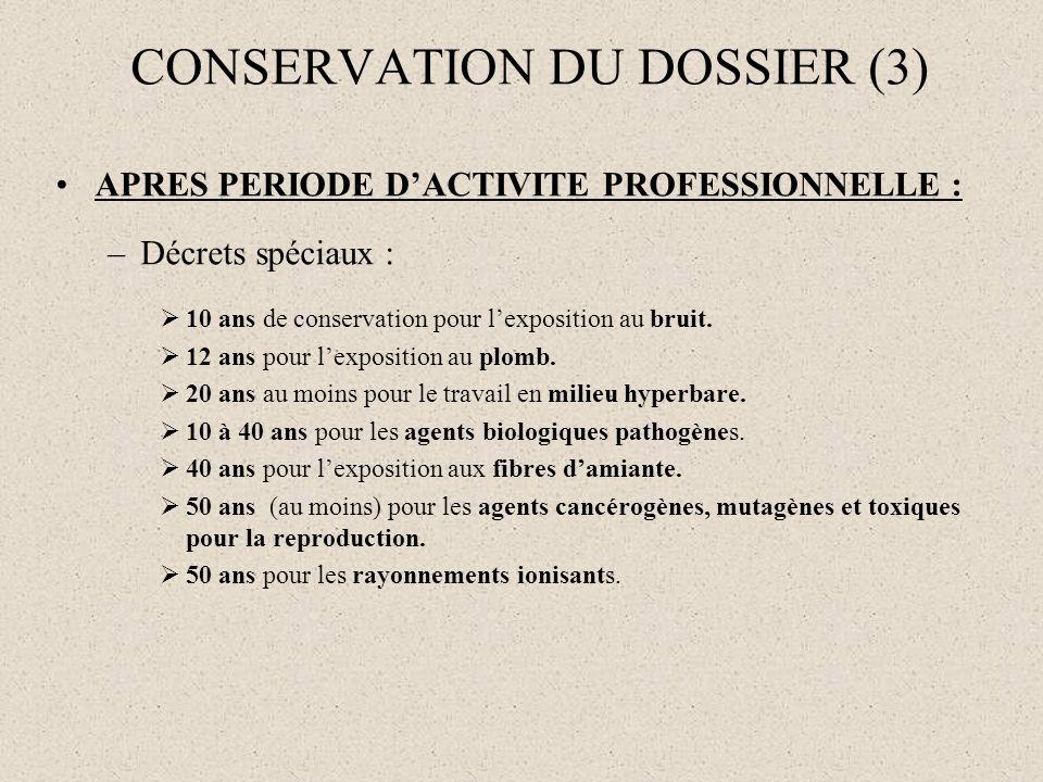 CONSERVATION DU DOSSIER (3) APRES PERIODE DACTIVITE PROFESSIONNELLE : –Décrets spéciaux : 10 ans de conservation pour lexposition au bruit. 12 ans pou