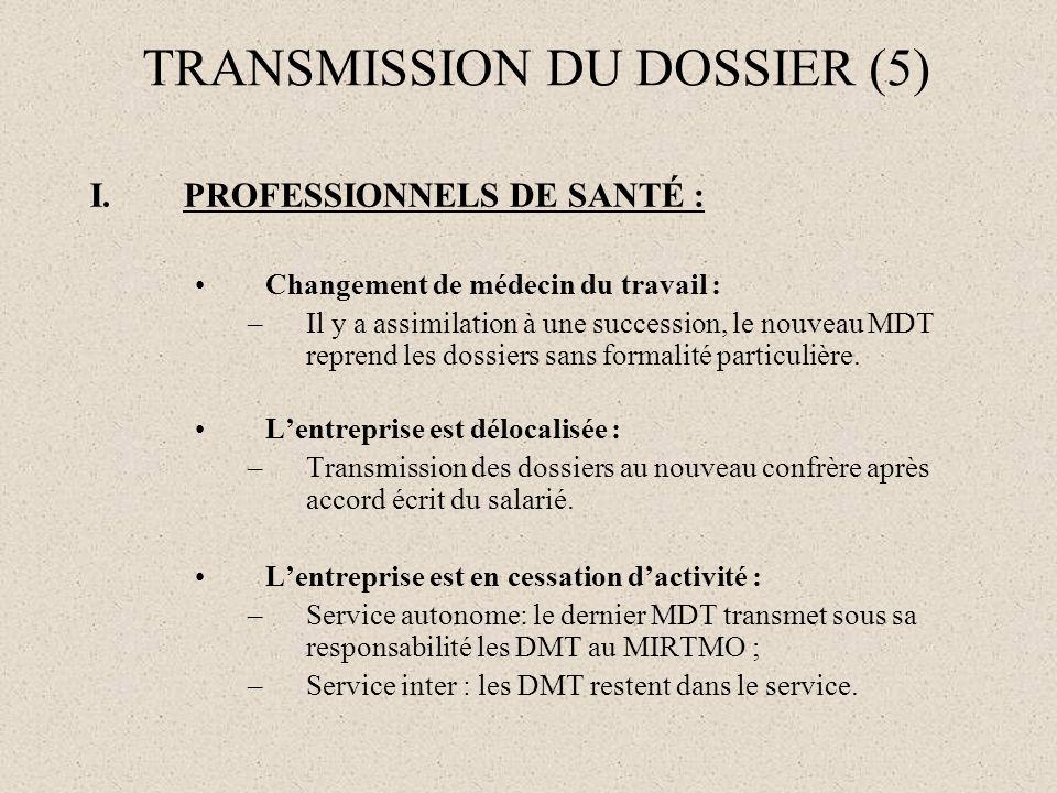 I.PROFESSIONNELS DE SANTÉ : Changement de médecin du travail : –Il y a assimilation à une succession, le nouveau MDT reprend les dossiers sans formali