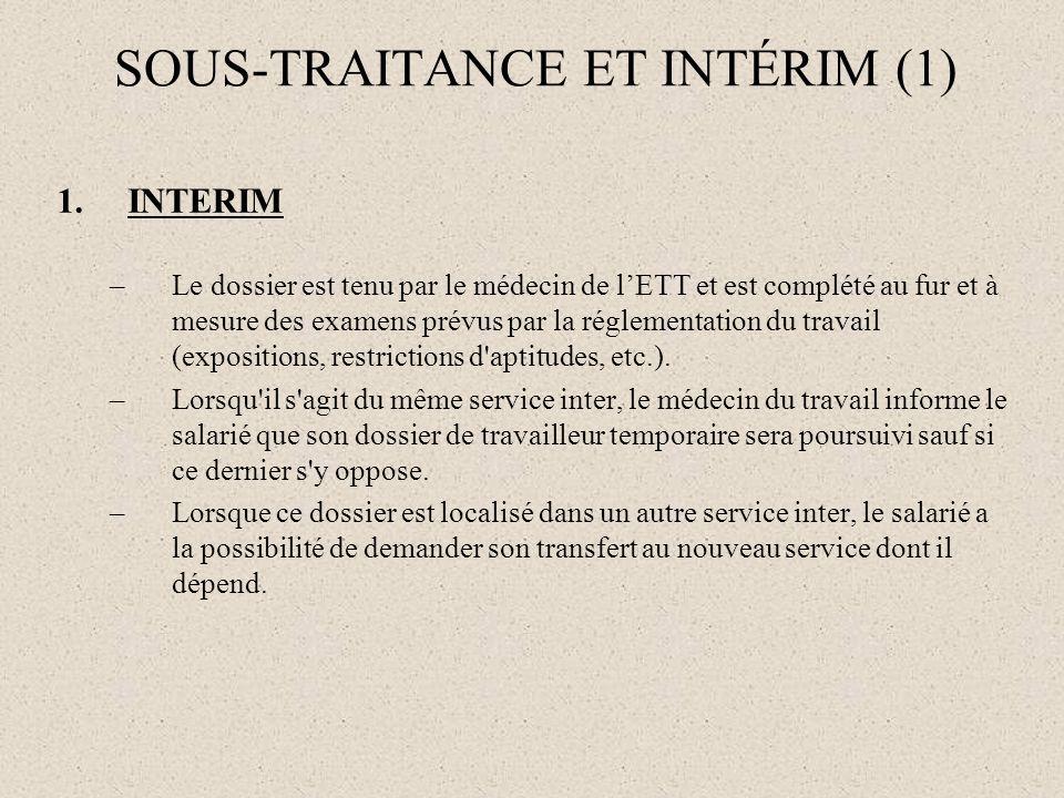 1.INTERIM –Le dossier est tenu par le médecin de lETT et est complété au fur et à mesure des examens prévus par la réglementation du travail (expositi