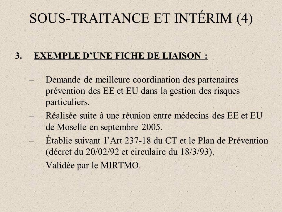 SOUS-TRAITANCE ET INTÉRIM (4) 3.EXEMPLE DUNE FICHE DE LIAISON : –Demande de meilleure coordination des partenaires prévention des EE et EU dans la ges