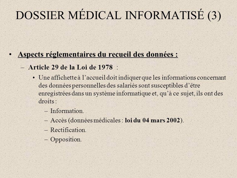 DOSSIER MÉDICAL INFORMATISÉ (3) Aspects réglementaires du recueil des données : –Article 29 de la Loi de 1978 : Une affichette à laccueil doit indique
