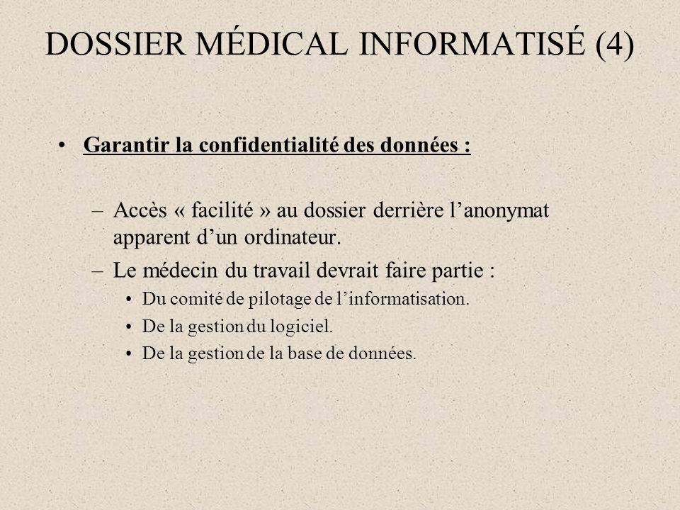 DOSSIER MÉDICAL INFORMATISÉ (4) Garantir la confidentialité des données : –Accès « facilité » au dossier derrière lanonymat apparent dun ordinateur. –