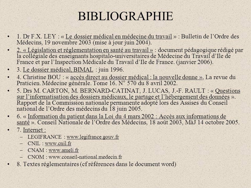 BIBLIOGRAPHIE 1. Dr F.X. LEY : « Le dossier médical en médecine du travail » : Bulletin de lOrdre des Médecins, 19 novembre 2003 (mise à jour juin 200