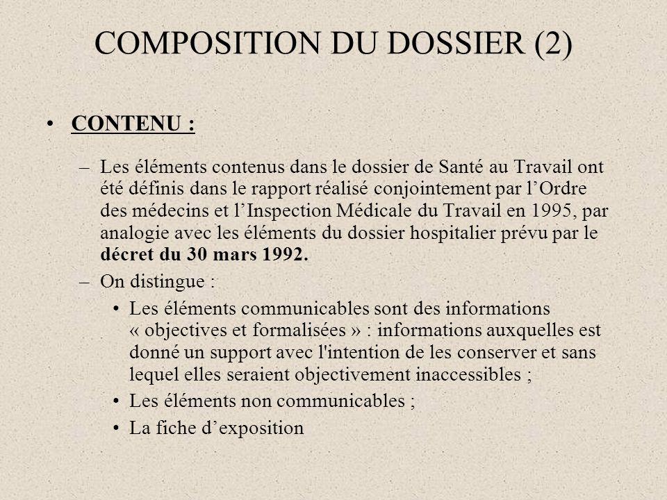 COMPOSITION DU DOSSIER (2) CONTENU : –Les éléments contenus dans le dossier de Santé au Travail ont été définis dans le rapport réalisé conjointement
