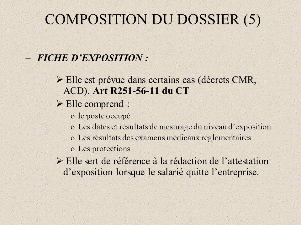 COMPOSITION DU DOSSIER (5) –FICHE DEXPOSITION : Elle est prévue dans certains cas (décrets CMR, ACD), Art R251-56-11 du CT Elle comprend : ole poste o