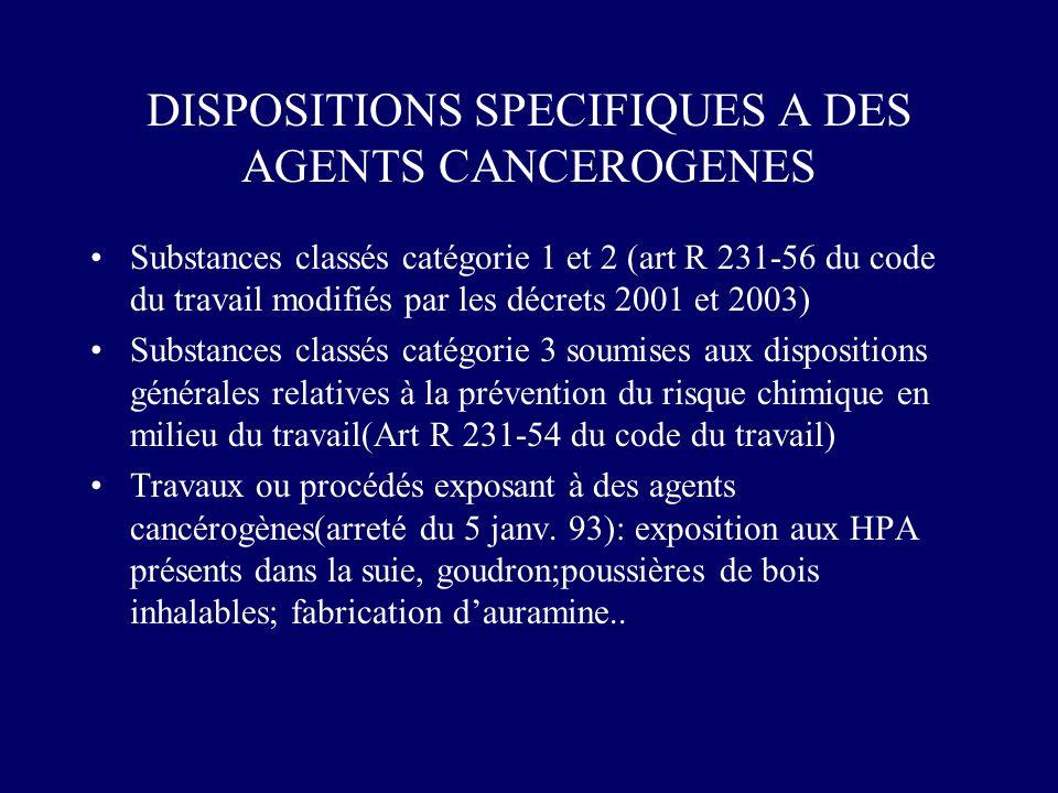 DISPOSITIONS SPECIFIQUES A DES AGENTS CANCEROGENES Substances classés catégorie 1 et 2 (art R 231-56 du code du travail modifiés par les décrets 2001