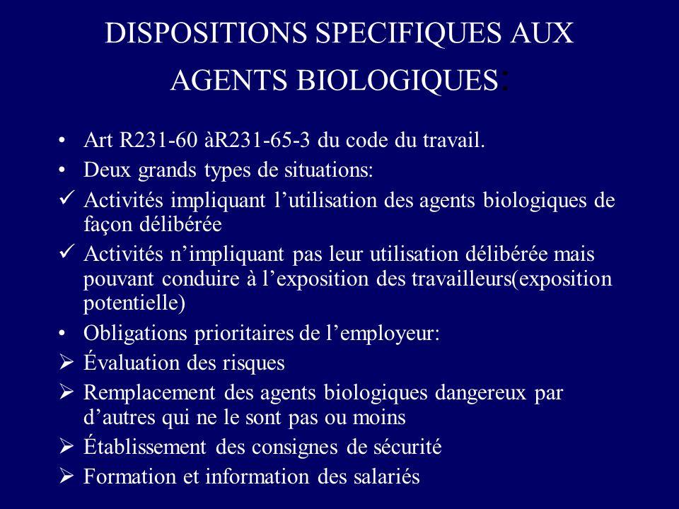 DISPOSITIONS SPECIFIQUES AUX AGENTS BIOLOGIQUES : Art R231-60 àR231-65-3 du code du travail. Deux grands types de situations: Activités impliquant lut