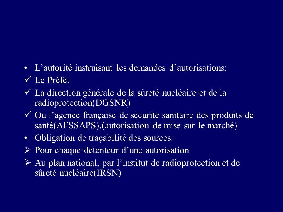 Lautorité instruisant les demandes dautorisations: Le Préfet La direction générale de la sûreté nucléaire et de la radioprotection(DGSNR) Ou lagence f