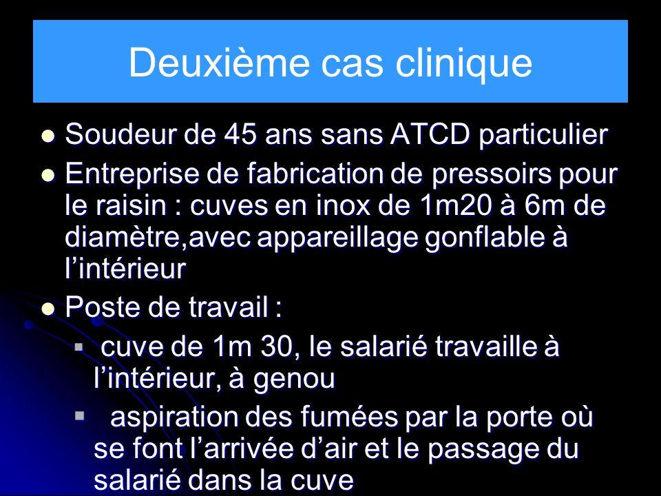 Deuxième cas clinique Soudeur de 45 ans sans ATCD particulier Soudeur de 45 ans sans ATCD particulier Entreprise de fabrication de pressoirs pour le r