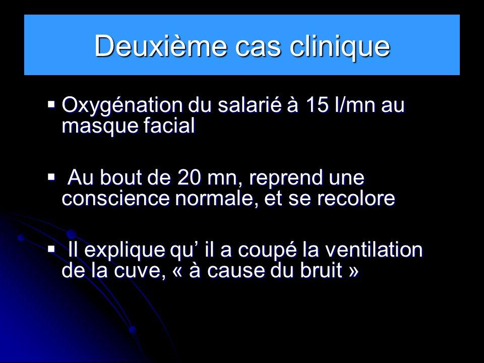 Deuxième cas clinique Oxygénation du salarié à 15 l/mn au masque facial Oxygénation du salarié à 15 l/mn au masque facial Au bout de 20 mn, reprend un