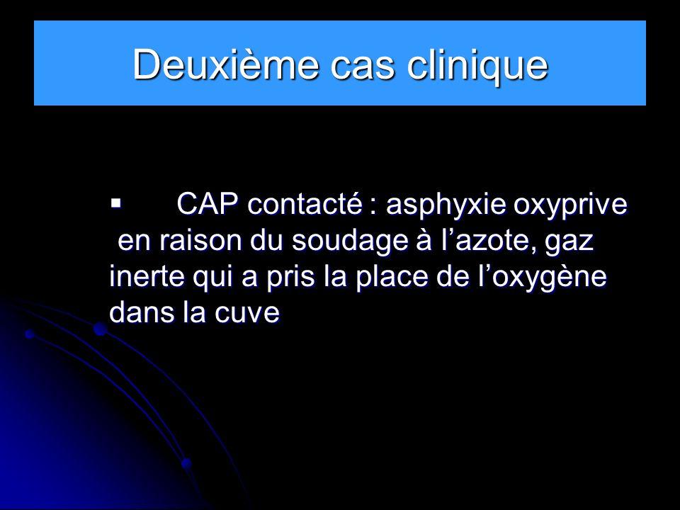Deuxième cas clinique CAP contacté : asphyxie oxyprive CAP contacté : asphyxie oxyprive en raison du soudage à lazote, gaz en raison du soudage à lazo