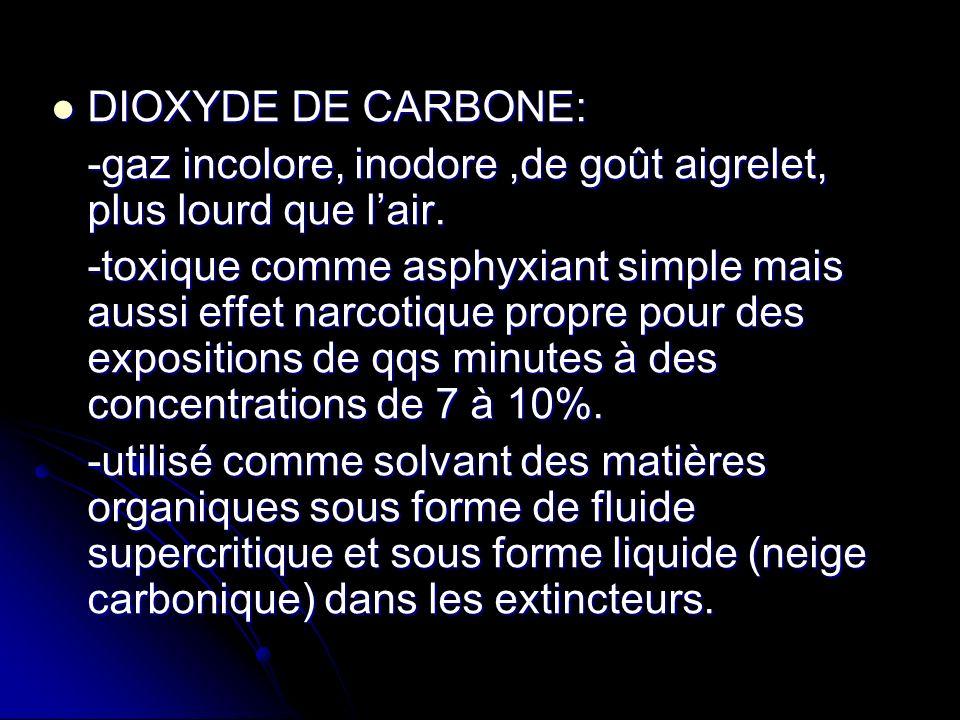 DIOXYDE DE CARBONE: DIOXYDE DE CARBONE: -gaz incolore, inodore,de goût aigrelet, plus lourd que lair. -toxique comme asphyxiant simple mais aussi effe
