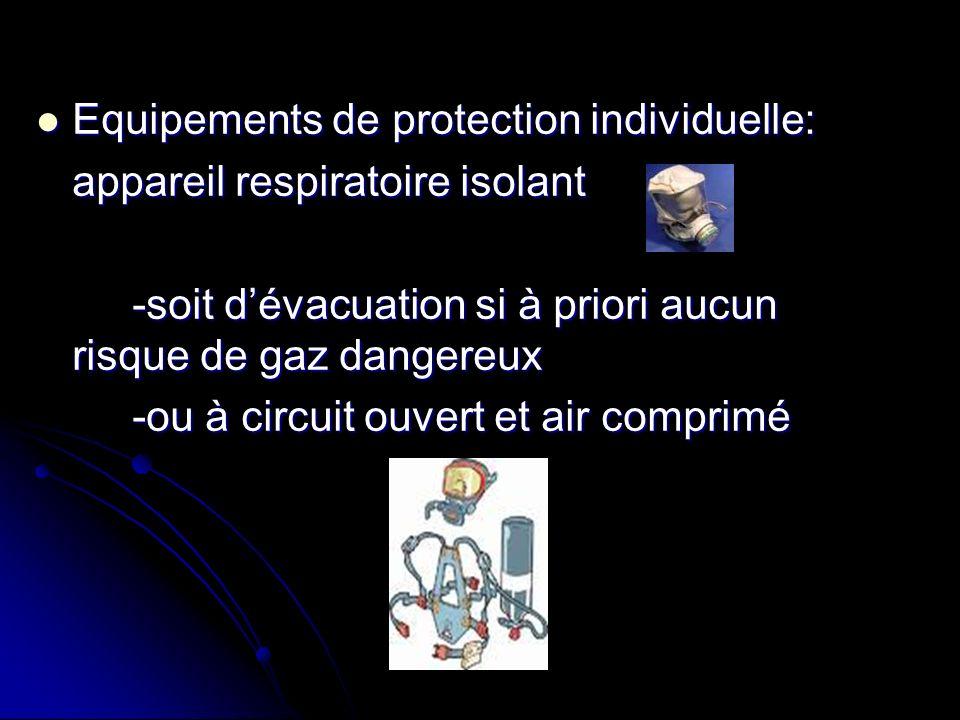 Equipements de protection individuelle: Equipements de protection individuelle: appareil respiratoire isolant -soit dévacuation si à priori aucun risq