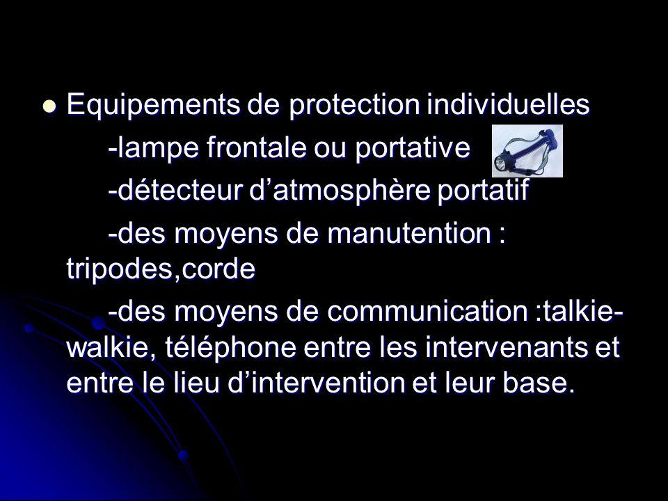 Equipements de protection individuelles Equipements de protection individuelles -lampe frontale ou portative -détecteur datmosphère portatif -des moye