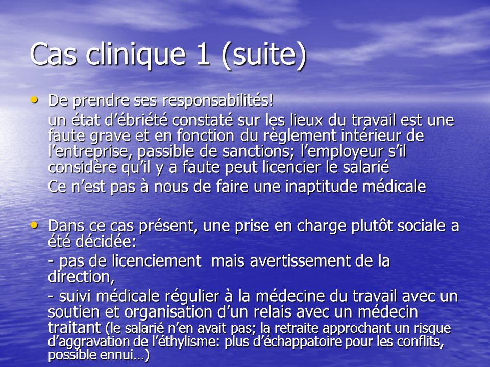 Cas clinique 1 (suite) De prendre ses responsabilités! De prendre ses responsabilités! un état débriété constaté sur les lieux du travail est une faut