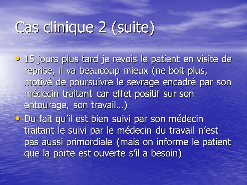 Cas clinique 2 (suite) 15 jours plus tard je revois le patient en visite de reprise, il va beaucoup mieux (ne boit plus, motivé de poursuivre le sevra