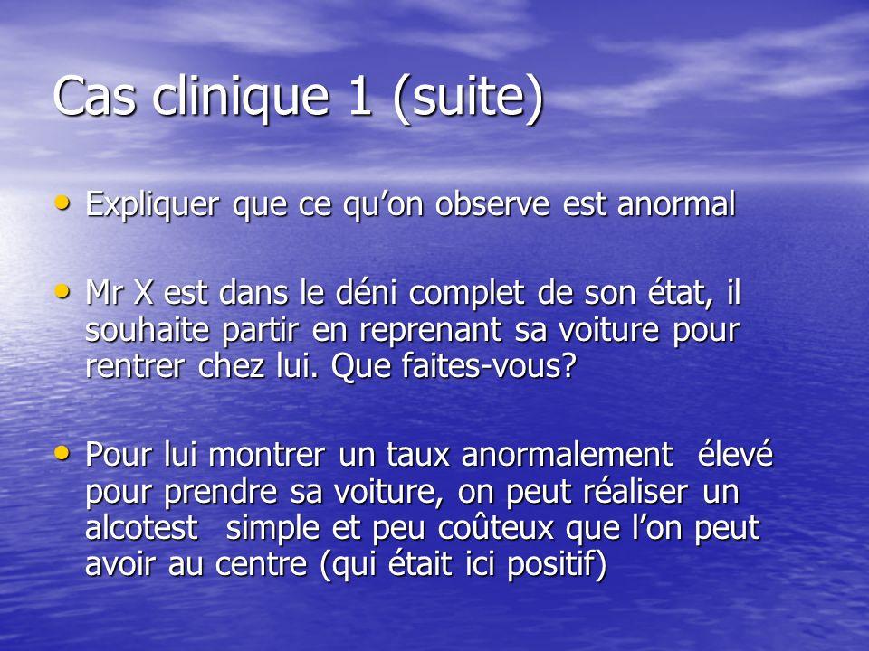 Cas clinique 1 (suite) Expliquer que ce quon observe est anormal Expliquer que ce quon observe est anormal Mr X est dans le déni complet de son état,