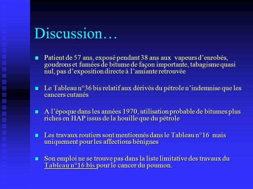 Discussion… Patient de 57 ans, exposé pendant 38 ans aux vapeurs denrobés, goudrons et fumées de bitume de façon importante, tabagisme quasi nul, pas